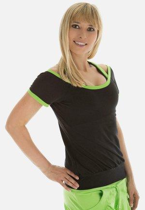 Print T-shirt - schwarz apfelgrün