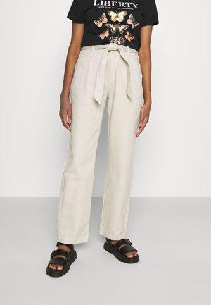 TIE WAIST TWILL PANTS - Bukse - beige