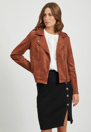 Faux leather jacket - tobacco brown