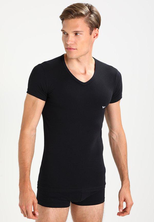 Emporio Armani V NECK 2 PACK - T-shirt basic - black/gray/czarny Odzież Męska YNTR