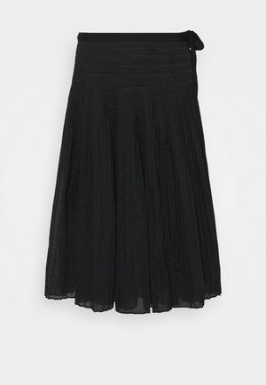 PLEATED TIE WRAP SKIRT - A-line skirt - black