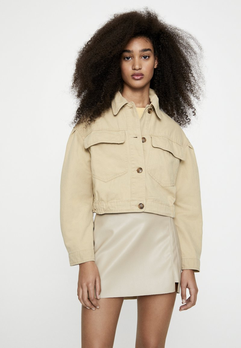 PULL&BEAR - Faux leather jacket - camel