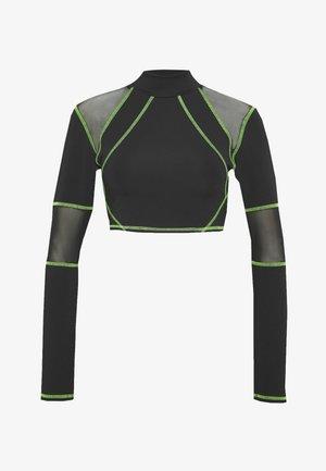 SPORT HIGH NECK LONG SLEEVE TOP - Camiseta de manga larga - green/black