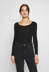 New Look - SCOOP NECK BODY - Bluzka z długim rękawem - black - 0