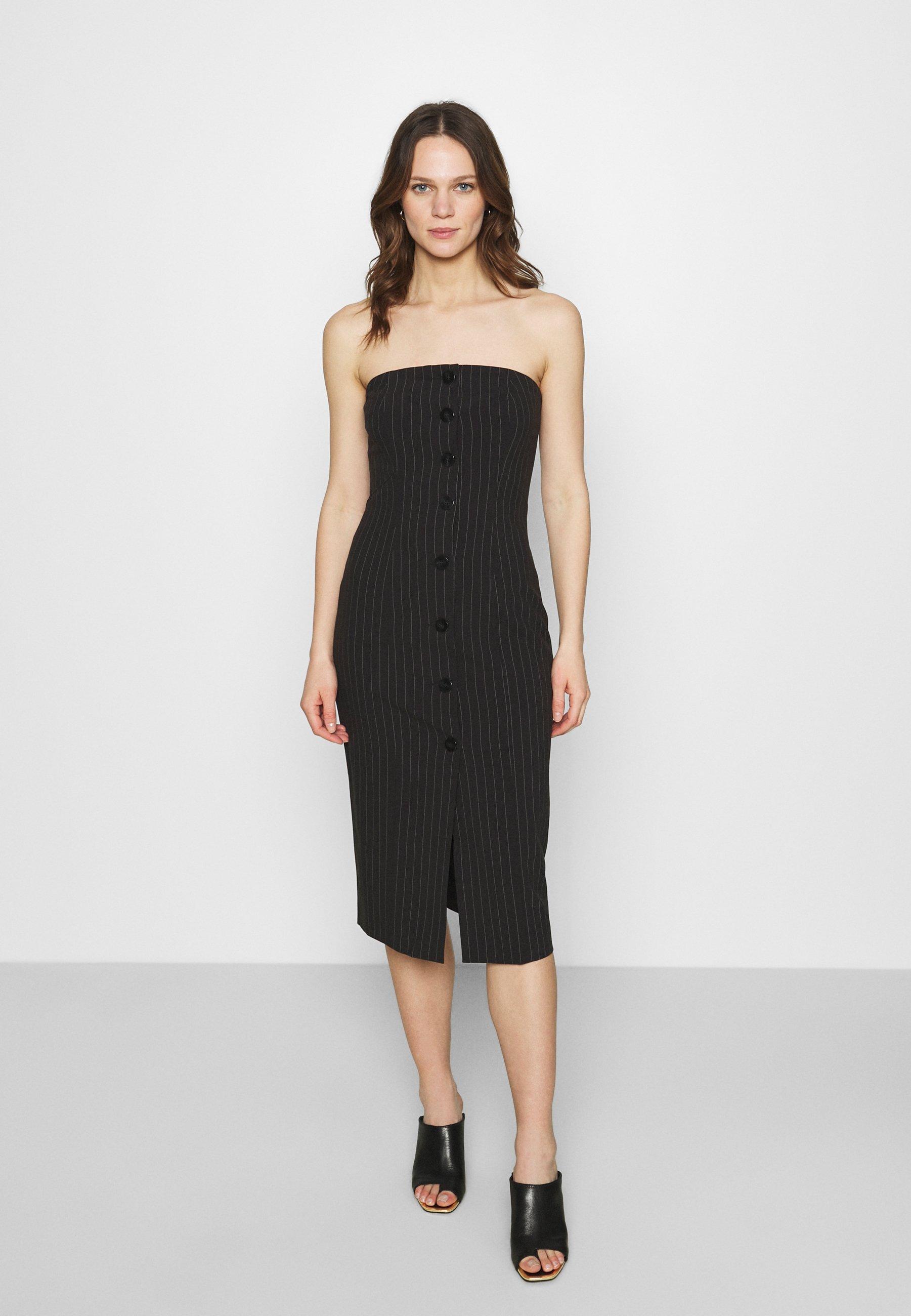 Women STRAPLESS BUTTON FRONT DRESS - Shift dress
