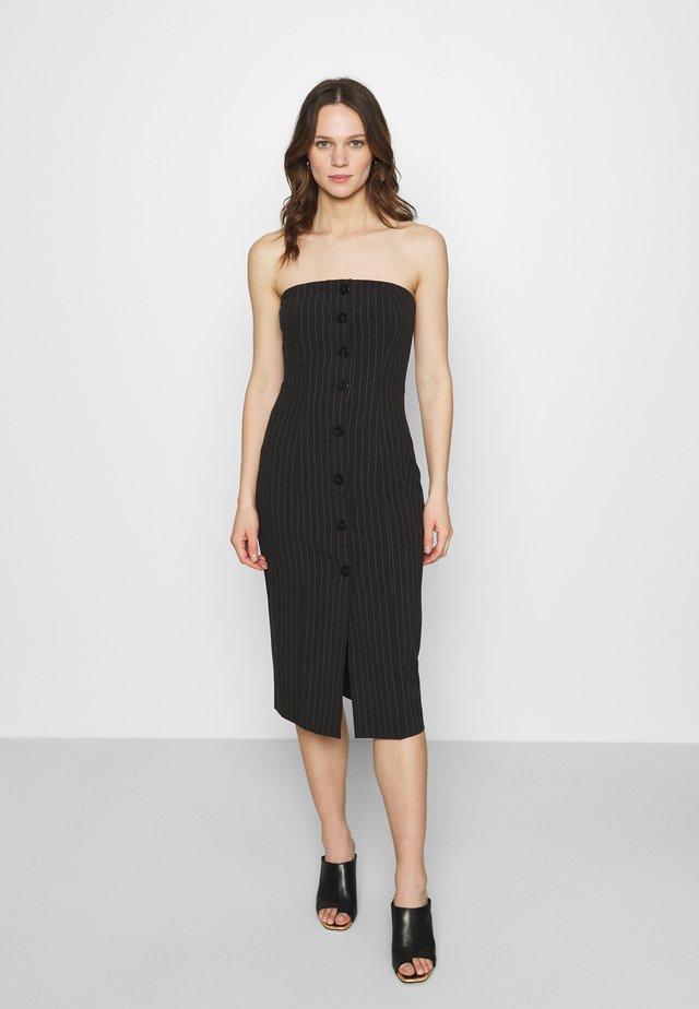 STRAPLESS BUTTON FRONT DRESS - Robe fourreau - black
