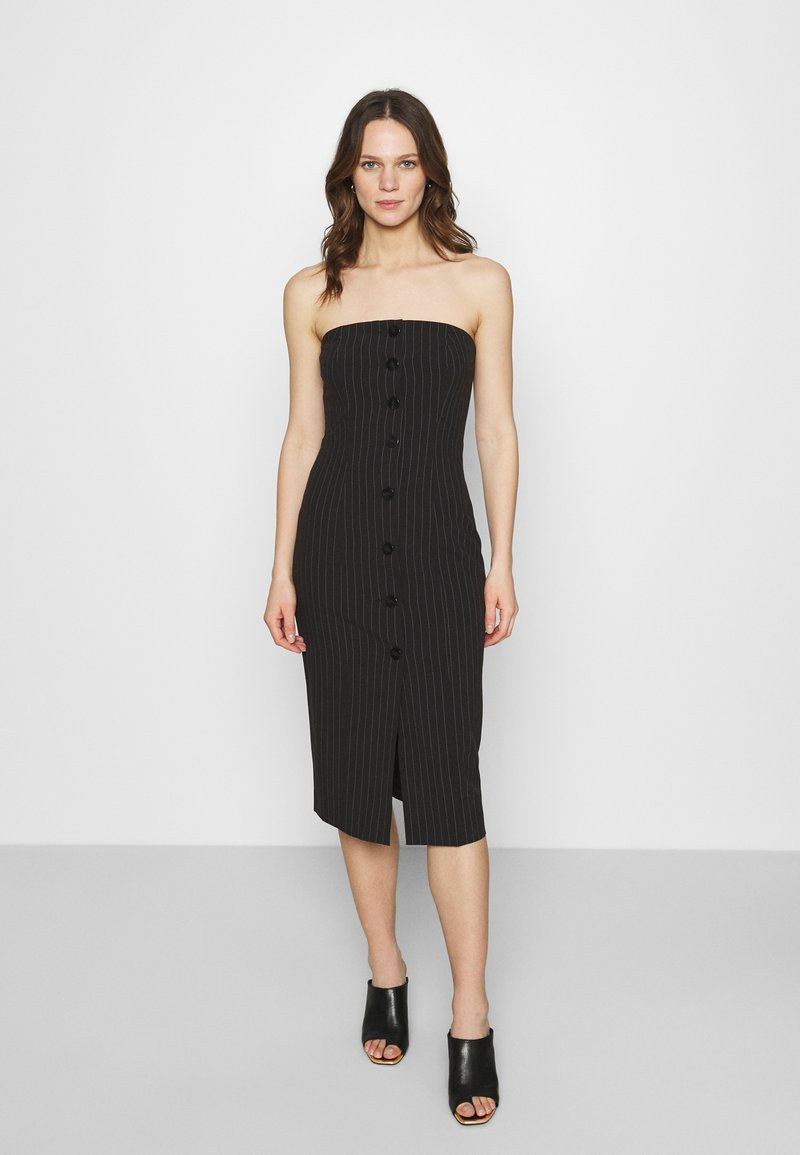 Who What Wear - STRAPLESS BUTTON FRONT DRESS - Shift dress - black