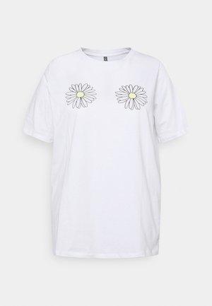 PCLIEVA TEE CURVE - T-shirts med print - bright white