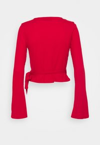 NU-IN - WRAP FRONT RIBBED LONG SLEEVE - Long sleeved top - scarlet red - 1