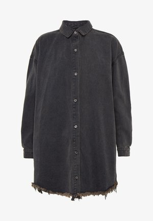 OVERSIZED SHIRT DRESS - Denim dress - black