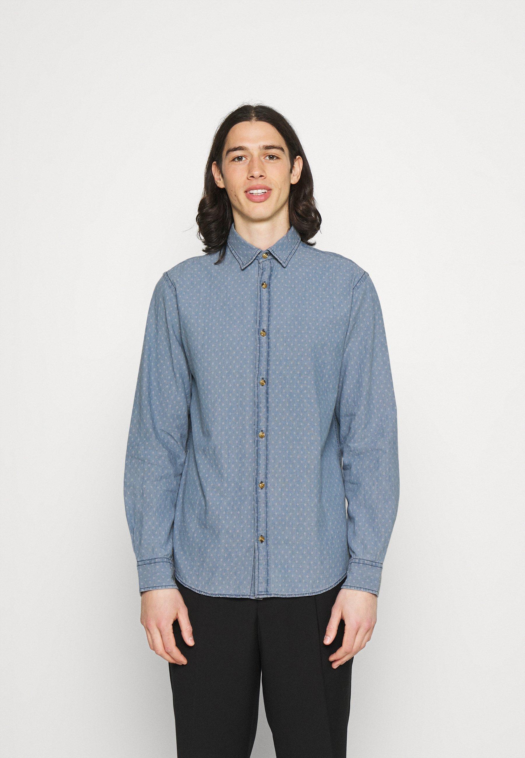 Men JJTEXAS PLAIN - Shirt - light blue