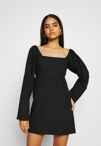 PUFF SLEEVE MINI DRESS - Day dress - black