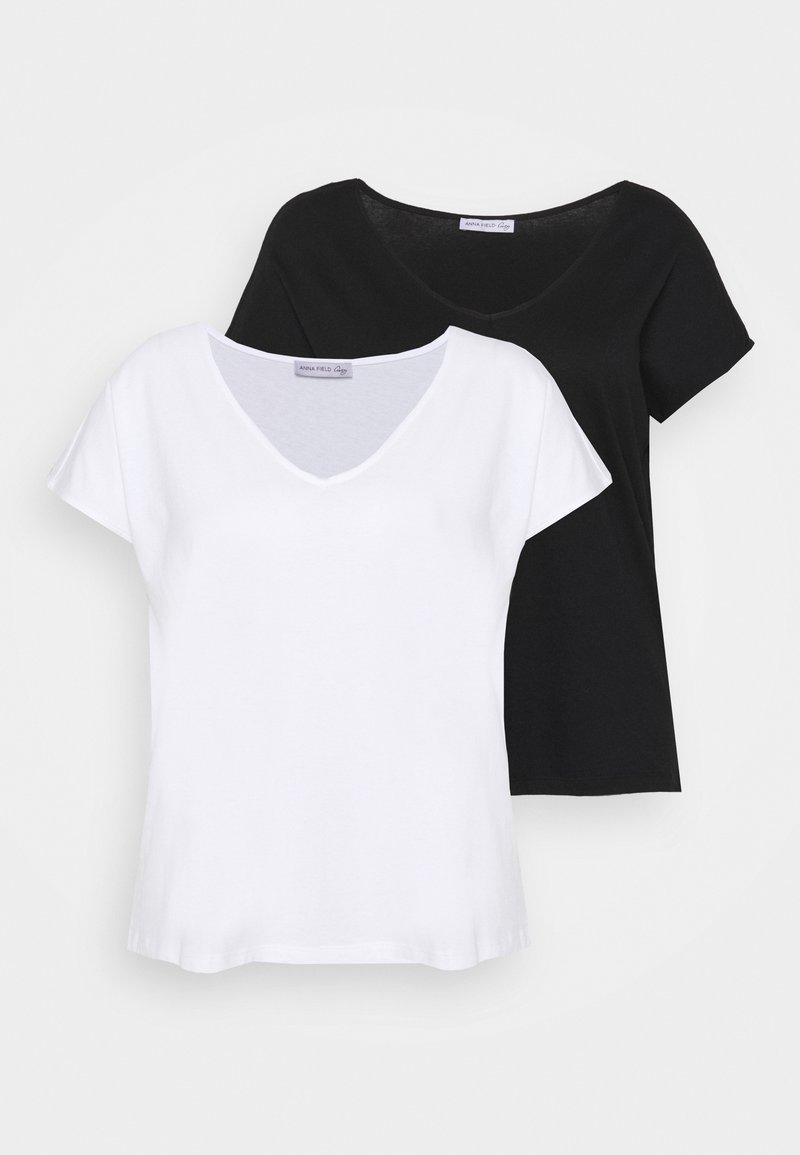 Anna Field Curvy - 2 PACK - T-shirts - black/white