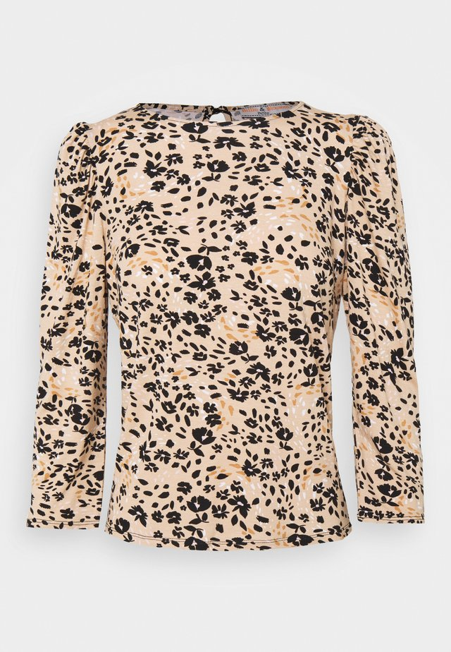 BILLIE AND BLOSSOM FLORAL PUFF SLEEVE - Bluzka - camel