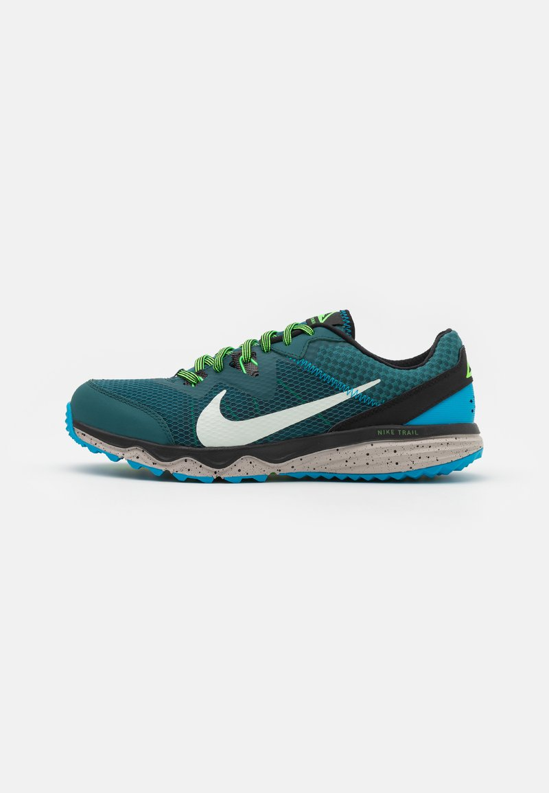 Nike Performance - JUNIPER - Trail running shoes - dark teal green/light silver/black
