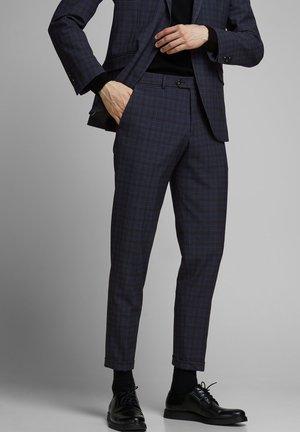 ELEGANTE KARIERTE - Suit trousers - dark navy