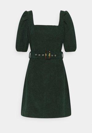 MILKMAID PUFF SLEEVES BELT SKATER DRESS - Denní šaty - dark green