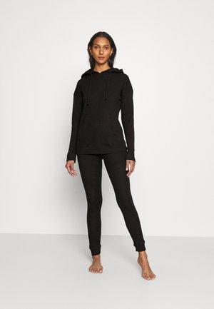 WAFFLE LOUNGEWEAR HOODIE JOGGER - Pyjamas - black