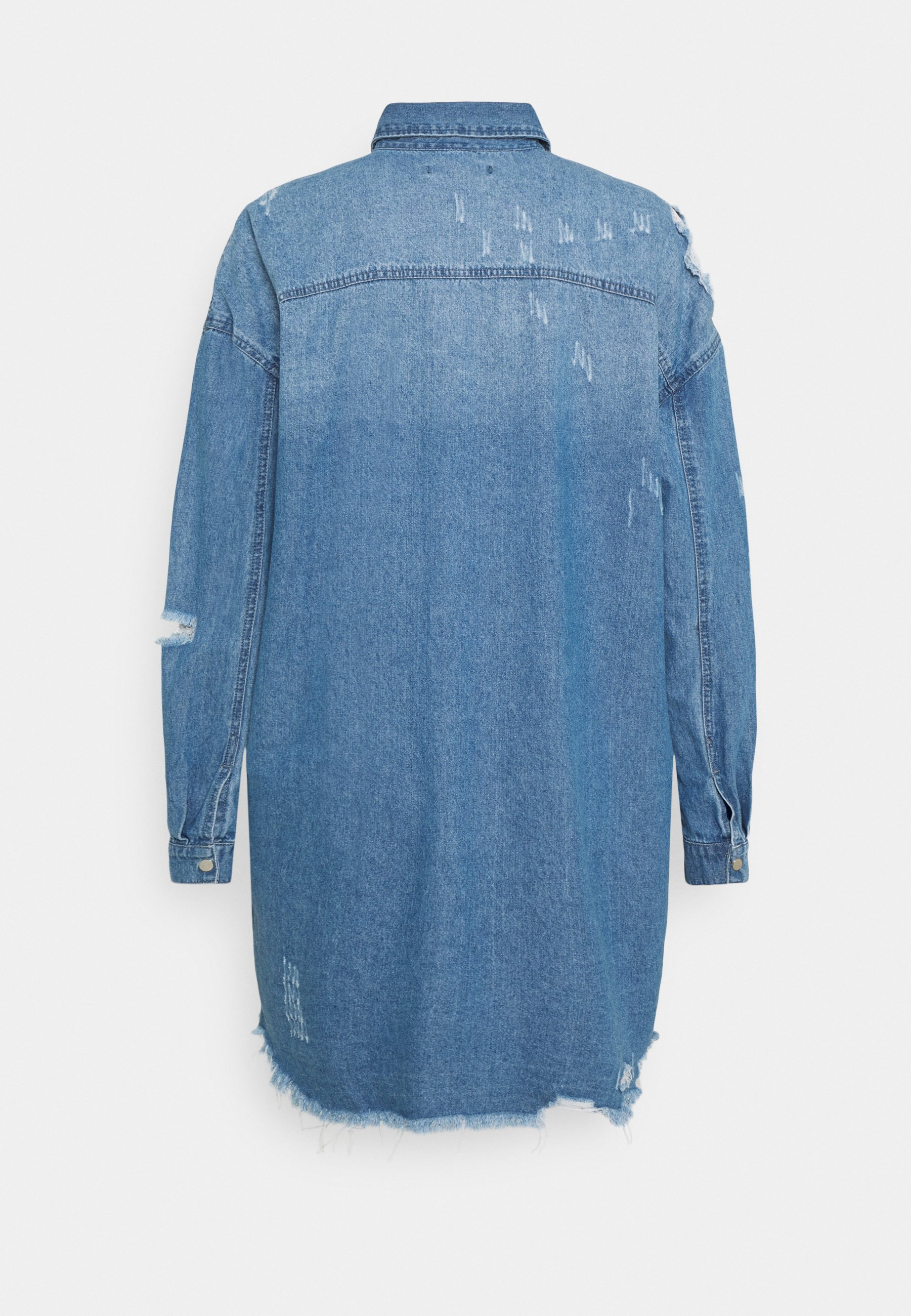 Women SUPER HEM DISTRESS DRESS - Denim dress