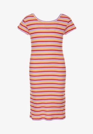 SOFTY STRIPE DRAPINA - Pletené šaty - multicolor/red