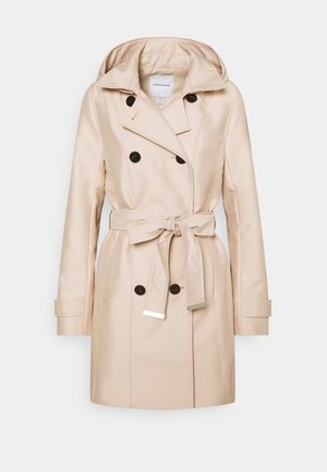 HOODED - Trenchcoat - stone