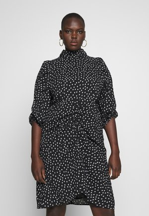 HIGH NECK RUCHED DETAIL SPOT DRESS - Day dress - mono