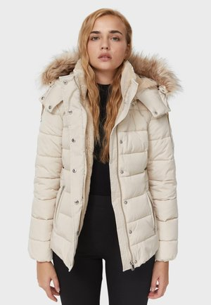 MIT ABNEHMBARER KAPUZE  - Winter jacket - mottled beige