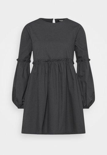 PUFF SLEEVE FRILL DETAIL SMOCK DRESS - Day dress - navy