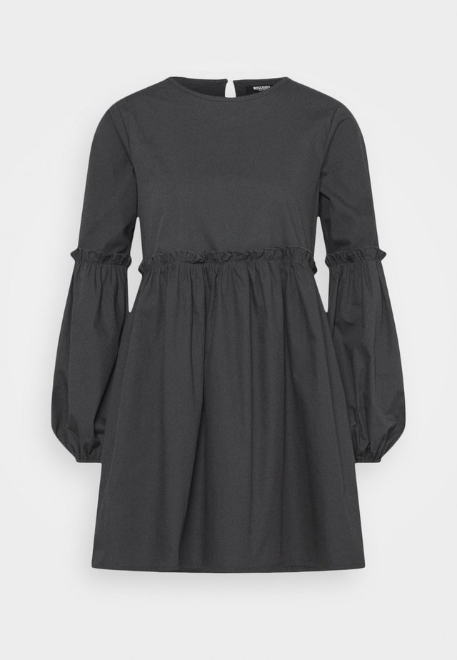 PUFF SLEEVE FRILL DETAIL SMOCK DRESS - Day dress - navy