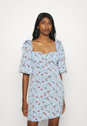 FLORAL PUFF SLEEVE DRESS - Kjole - blue