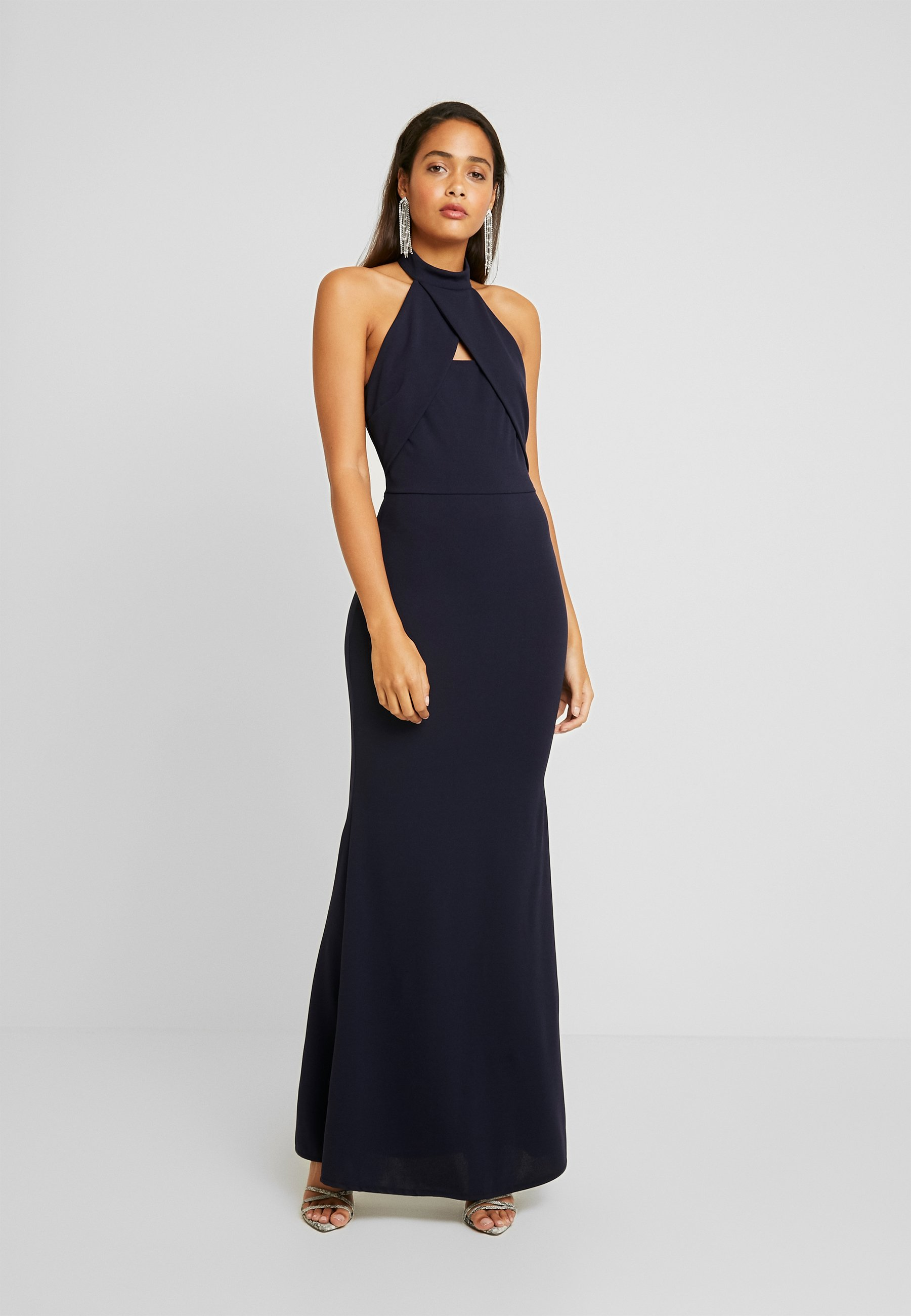high neck cross maxi dress - cocktailkleid/festliches kleid - navy
