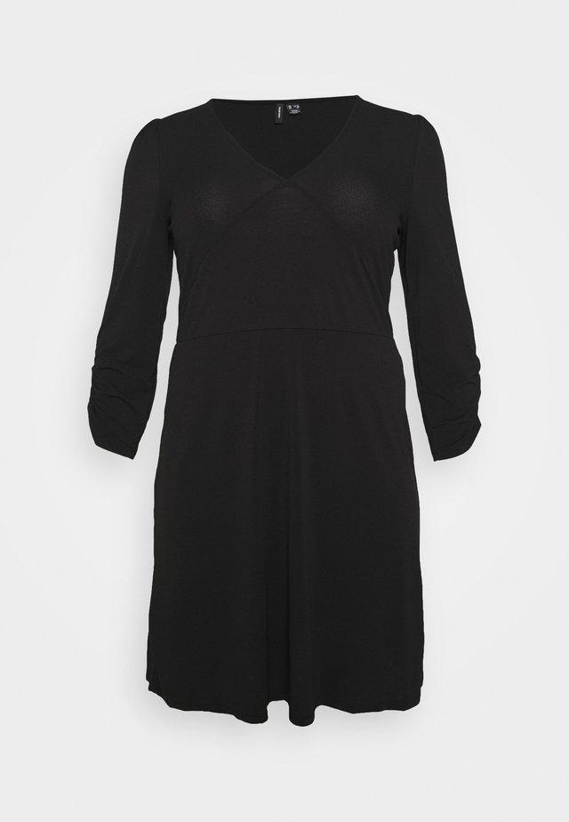 VMALBERTA VNECK DRESS - Vestito di maglina - black