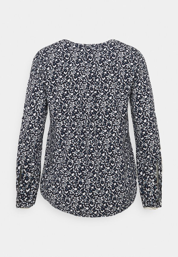 MY TRUE ME TOM TAILOR BLOUSE WITH PLEAT DETAIL - Bluzka - navy flowers and dots/niebieski OUGN