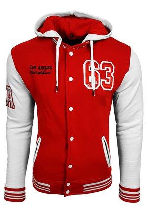 COLLEGE JACKE HERREN SWEATSHIRT KAPUZENPULLER US COLLEGE LOS ANG - Sweater met rits - rot / weiß