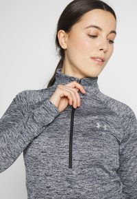Under Armour - TECH ZIP TWIST - Sports shirt - black/metallic silver - 3