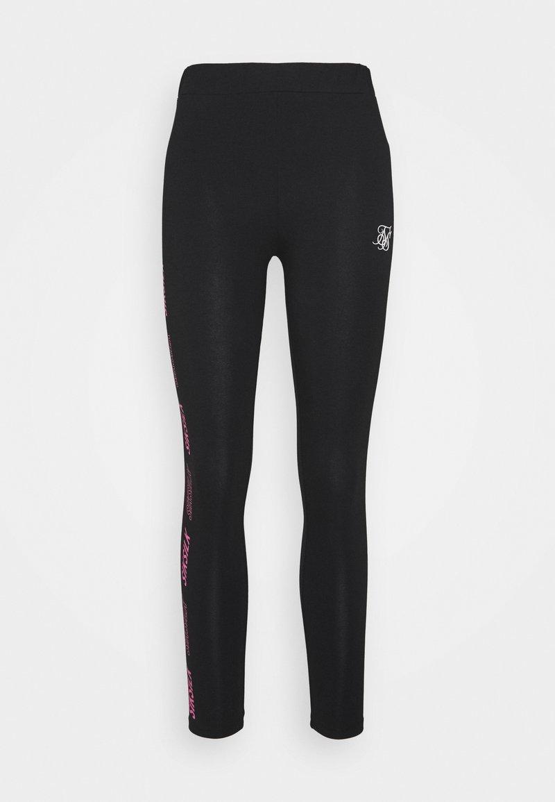 SIKSILK - PRINTED SIDE - Leggings - Trousers - black