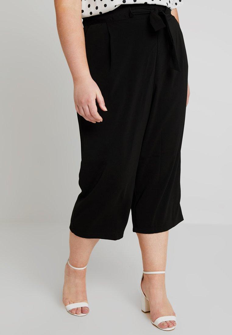 New Look Curves - EMERALD TIE WAIST CROP - Trousers - black