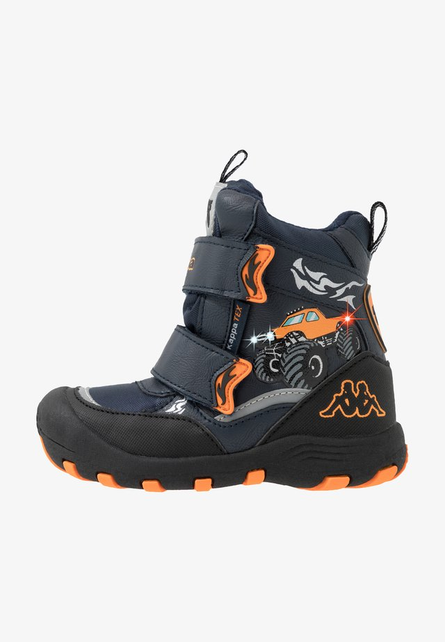 BIG WHEEL TEX - Winter boots - navy/orange