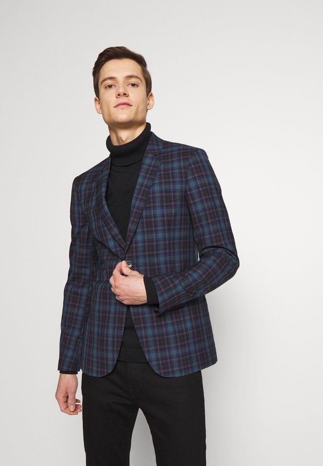 MENS JACKET FULLY LINED CHECKED - Giacca elegante - navy