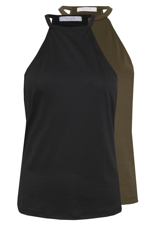 VILOVA HALTERNECK 2 PACK - Top - black/pack dark olive