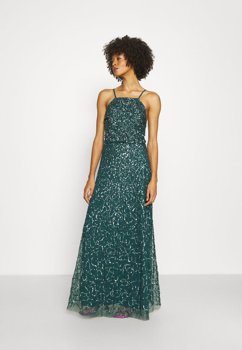 Maya Deluxe - ALL OVER EMBELLISHED CAMI DRESS - Occasion wear - deep teal