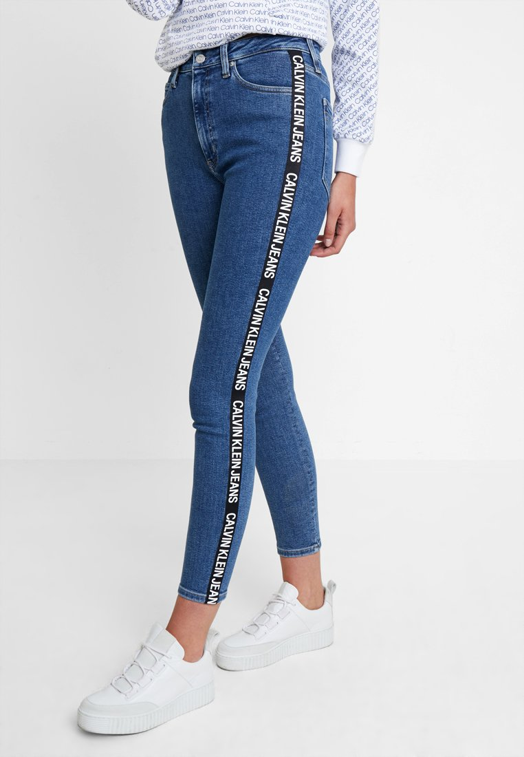 Calvin Klein Jeans - 010 HIGH RISE SKINNY ANKLE - Jeans Skinny Fit - dark blue denim