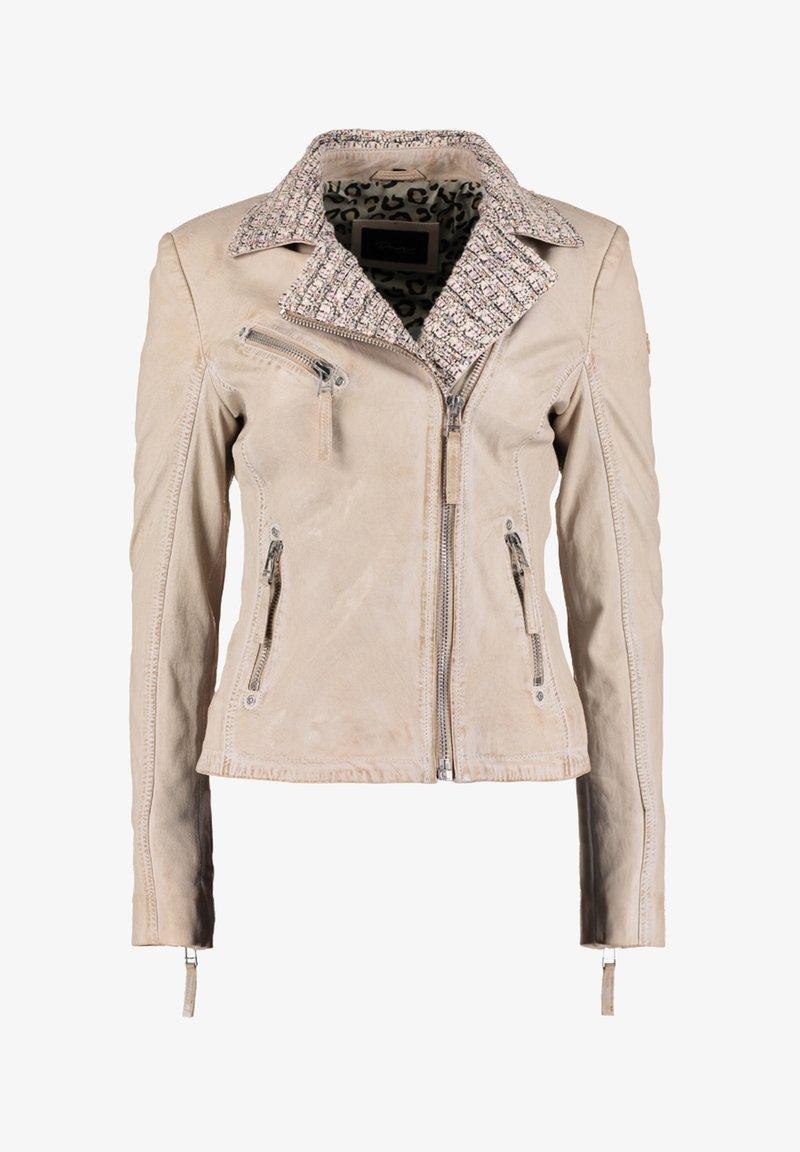 DNR Jackets - MIT STRICKELEMENTEN UND KONTRASTVERARBEITUNG - Leather jacket - nude
