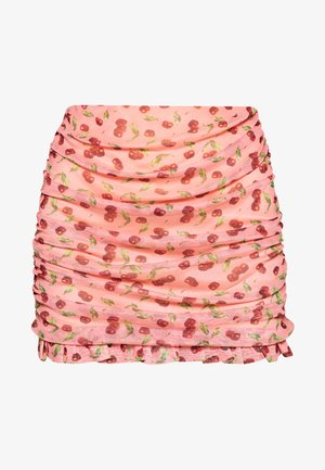CHERRY RUCHED SKIRT - A-line skirt - pink