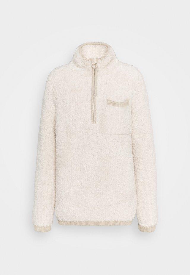 QUARTER ZIP - Stickad tröja - natural