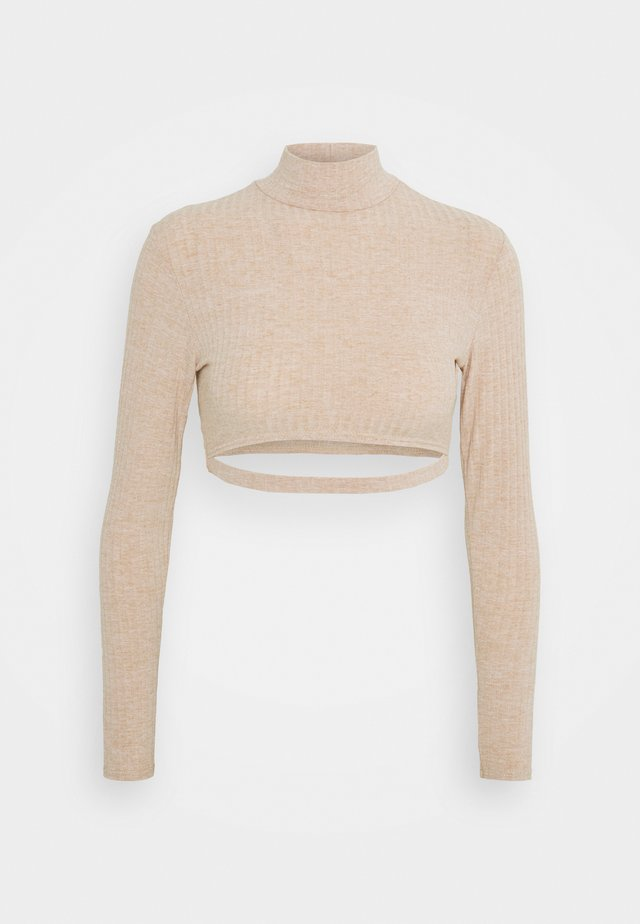 CUT OUT LONG SLEEVE CROP - Long sleeved top - beige