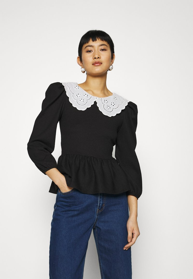 Dorothy Perkins - EMBROIDERED COLLAR TEXTURED - Blouse - black