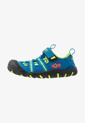 KIDS SANDEFJORD - Walking sandals - medium blue/lime