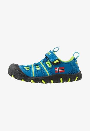 KIDS SANDEFJORD - Walking sandals - medium blue/lime