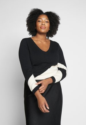 DIAGANOL BLOCKED V NECK JUMPER - Jumper - black/neutral
